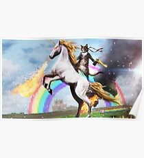 Rambo Cat Riding Fire Unicorn Poster