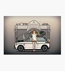 Honda N600 Rally Kei Car With Japanese 60's Asahi Pentax Commercial Girl Photographic Print