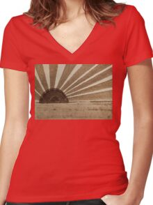 Sepia Sunset original painting Women's Fitted V-Neck T-Shirt