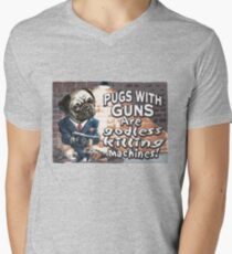 Pugs with Guns Men's V-Neck T-Shirt