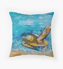 india ink blue and gold  Throw Pillow