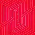 Modern minimal Line Art / Geometric Optical Illusion - Red Version  by badbugs