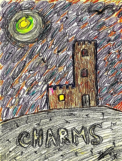charms castle magic drawing crayon spiral art tia knight  by Tia Knight
