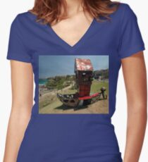 Outboard Motorboat @ Sculptures By The Sea 2011 Women's Fitted V-Neck T-Shirt