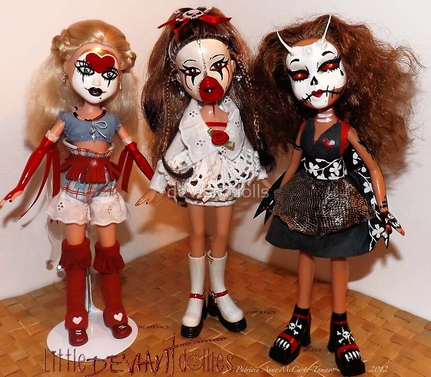 Heart Face Zipper Face, and Skully by deviantdolls