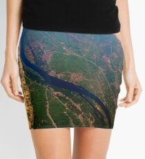Egypt From Above - The Nile In Bright Color Mini Skirt