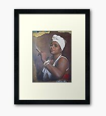 Cuban lady smoking a cigar Framed Print