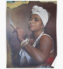 Cuban lady smoking a cigar Poster