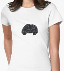 Peeking Black Puli Women's Fitted T-Shirt