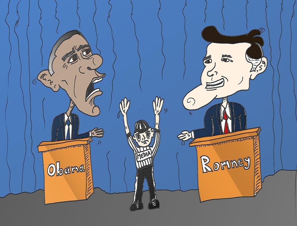 Obama Romney debate caricature by Binary-Options