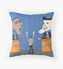 Obama Romney debate caricature Throw Pillow
