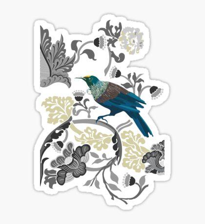 Flowers & Tui - Grey Sticker