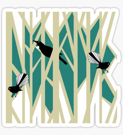 Tui and Fantail on Trees Sticker