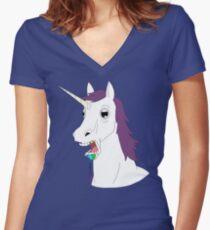 Dumb Unicorn  Women's Fitted V-Neck T-Shirt