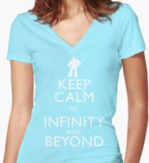 """KEEP CALM TO INFINITY AND BEYOND"" Women's Fitted V-Neck T-Shirt"