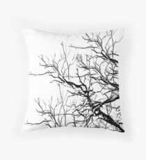 Tree Limbs 2 Black and White Throw Pillow