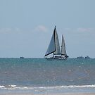 The Ketch! feeling the first winds, Semaphore Beach.Labour Day! by Rita Blom