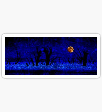 Under the Full Moon, the Dead Trees Dance (in Blue) Sticker