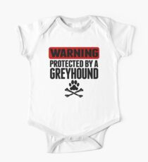 Warning Protected By A Greyhound One Piece - Short Sleeve