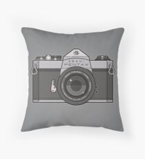 Asahi Pentax 35mm Analog SLR Camera Line Art Graphic Gray Throw Pillow