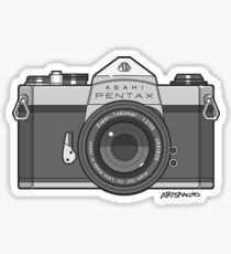 Asahi Pentax 35mm Analog SLR Camera Line Art Graphic Gray Sticker