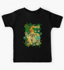 Vermilion Goldfish Swimming In Green Sea of Bubbles Kids Tee