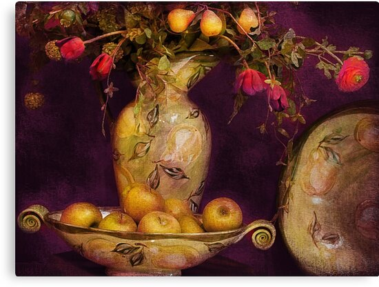 Bouquet with apples and flowers by Jeff Burgess