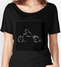 Biker showing road safety  Women's Relaxed Fit T-Shirt