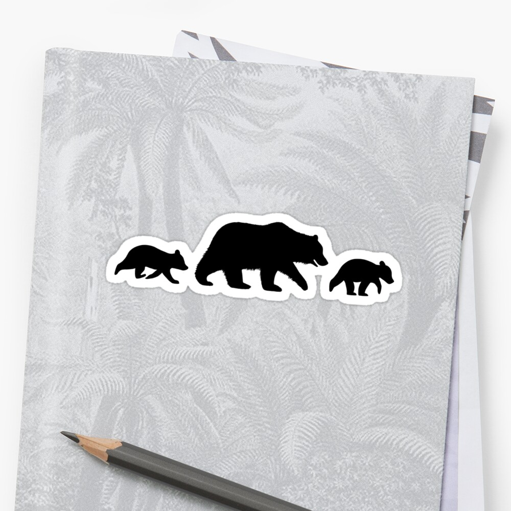 grizzly bear family silhouettes stickers by jenn inashvili redbubble