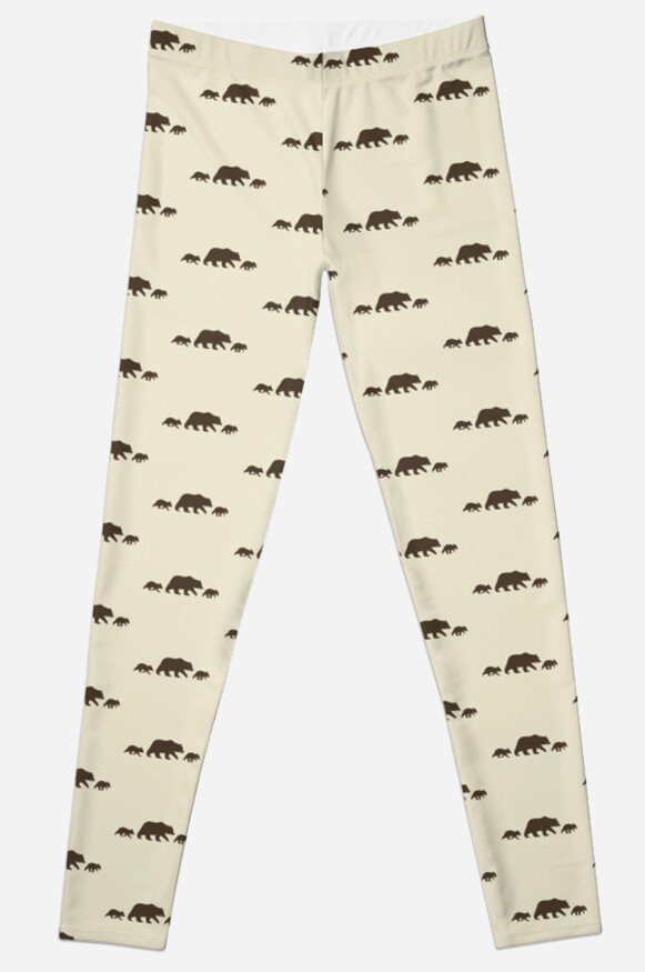 grizzly bear family silhouettes leggings by jenn inashvili redbubble