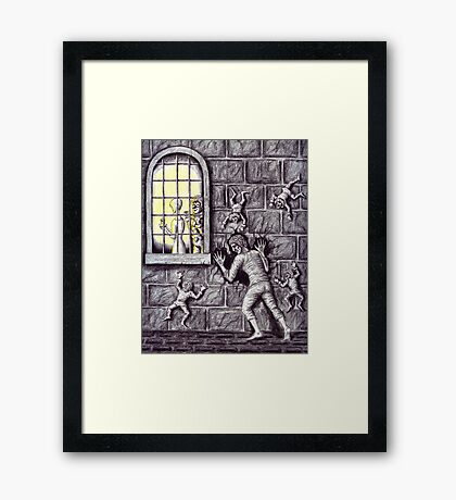 Getting Her surreal drawing Framed Print