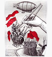 Revolutionary Sushi surreal pen ink and pencil drawing Poster
