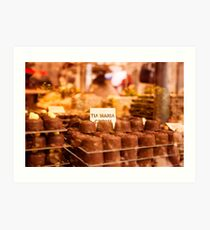 Delicious chocolate pralines in a window Art Print