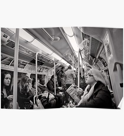 Riding the Tube - London - Britain Poster