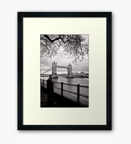 Enjoying the view - Tower Bridge - London - Britain Framed Print