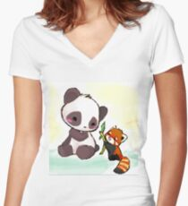 Cute Pandas  Women's Fitted V-Neck T-Shirt