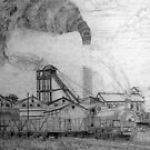 My pencil drawing of Frickley Colliery (2), Yorkshire 1920 by Dennis Melling
