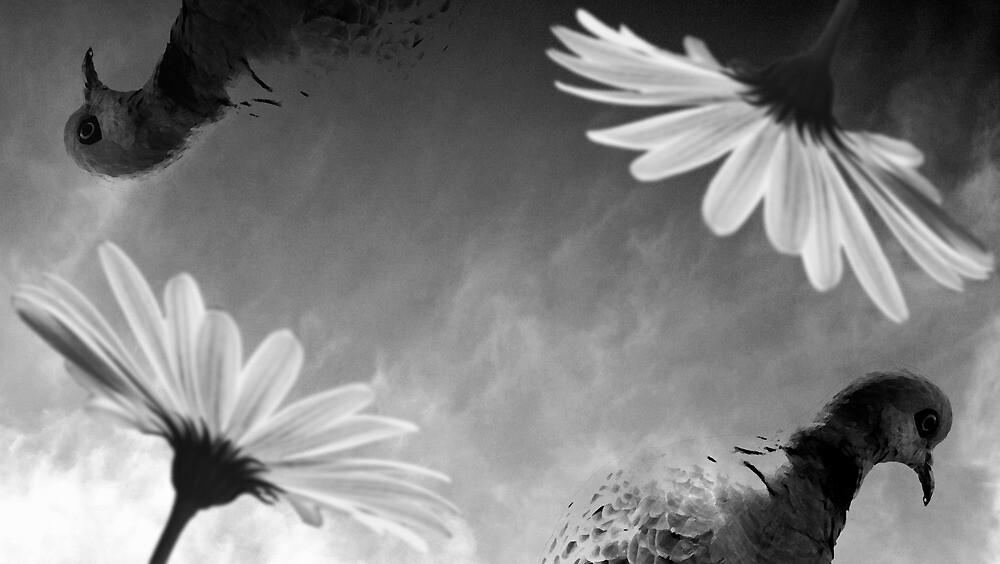 Pigeons & Flowers by Bo Jong Kim