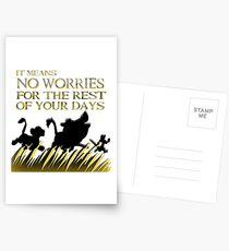 """""""Es bedeutet keine Sorgen für den Rest deiner Tage. Hakuna Matata!"""" - König der Löwen Postkarten"""