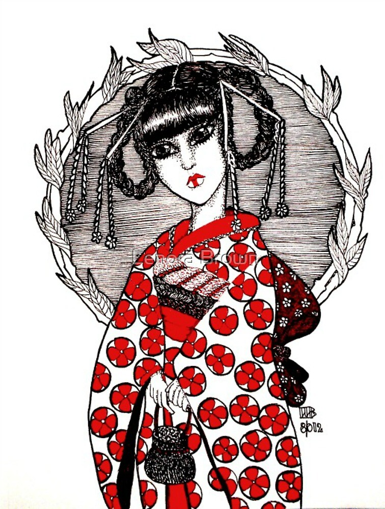 Geisha in Red by Lenora Brown