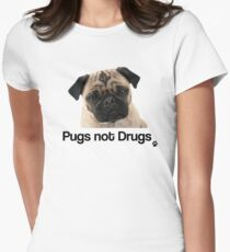 Pugs not Drugs Womens Fitted T-Shirt