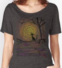 haunting Halloween black kitty cat being Aloof by spiral art tia knight Women's Relaxed Fit T-Shirt