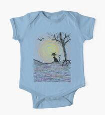 haunting Halloween black kitty cat being Aloof by spiral art tia knight One Piece - Short Sleeve