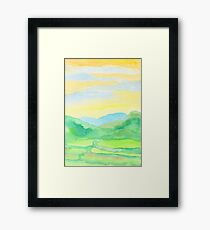 Hand-Painted Watercolor Green Rice Paddies Landscape Framed Print