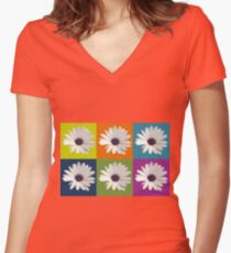 White African Daisy Collage On Bright Background Women's Fitted V-Neck T-Shirt