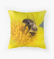 Bumble Bee on Yellow Flower Throw Pillow