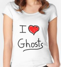 i love halloween ghosts Women's Fitted Scoop T-Shirt