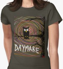 Daymare - Spooky creepy Halloween owl on branch spiral art tia knight  Women's Fitted T-Shirt