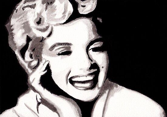 Marilyn Monroe - Portrait in India Ink by Guy Hoffman by Guy Hoffman (aka creative365)
