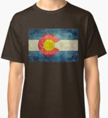 Colorado State Flag with vintage retro style treatment Classic T-Shirt